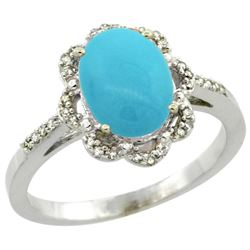Natural 1.85 ctw Turquoise & Diamond Engagement Ring 14K White Gold - REF-41M2H