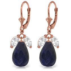 Genuine 18.6 ctw White Topaz & Sapphire Earrings Jewelry 14KT Rose Gold - REF-46Y7F