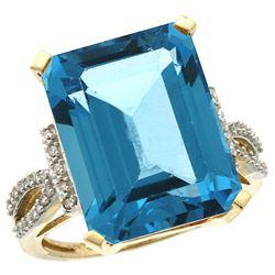 Natural 12.14 ctw Swiss-blue-topaz & Diamond Engagement Ring 14K Yellow Gold - REF-66X2A