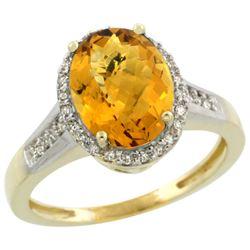Natural 2.49 ctw Whisky-quartz & Diamond Engagement Ring 14K Yellow Gold - REF-41X2A