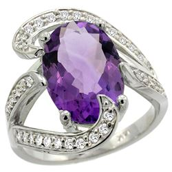 Natural 6.22 ctw amethyst & Diamond Engagement Ring 14K White Gold - REF-134R9Z