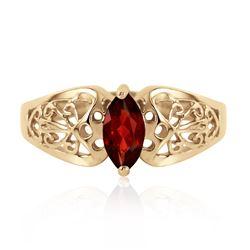 Genuine 0.20 CTW Garnet Ring Jewelry 14KT Yellow Gold - REF-47F2Z