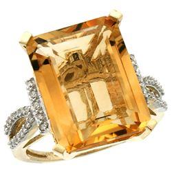Natural 12.14 ctw Citrine & Diamond Engagement Ring 10K Yellow Gold - REF-53N2G