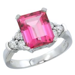 Natural 2.86 ctw pink-topaz & Diamond Engagement Ring 14K White Gold - REF-65Y2X