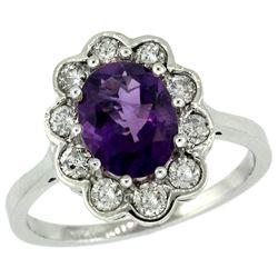 Natural 2.34 ctw Amethyst & Diamond Engagement Ring 14K White Gold - REF-81G4M