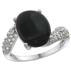 Natural 2.46 ctw onyx & Diamond Engagement Ring 14K White Gold - REF-47X4A