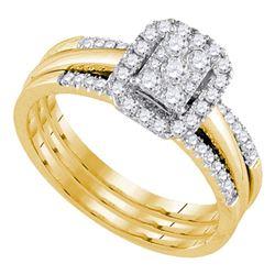 0.50 CTW Diamond Amour Halo Bridal Wedding Engagement Ring 14k Yellow Gold - REF-67X4Y