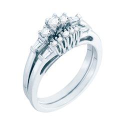 0.38 CTW Diamond 3-stone Bridal Engagement Ring 10KT White Gold - REF-41M9H