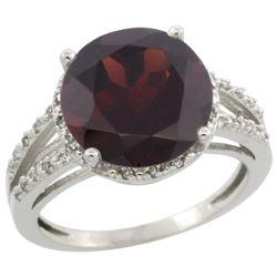 Natural 5.34 ctw Garnet & Diamond Engagement Ring 14K White Gold - REF-52Z3Y