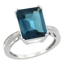Natural 5.42 ctw London-blue-topaz & Diamond Engagement Ring 14K White Gold - REF-63K6R