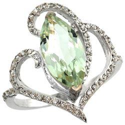 Natural 3.33 ctw Green-amethyst & Diamond Engagement Ring 14K White Gold - REF-77F5N