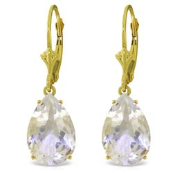 Genuine 10 ctw White Topaz Earrings Jewelry 14KT Yellow Gold - REF-45P3H