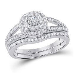 0.50 CTW Diamond Halo Bridal Engagement Ring 10KT White Gold - REF-49K5W