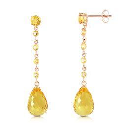 Genuine 23 ctw Citrine Earrings Jewelry 14KT Rose Gold - REF-50F6Z