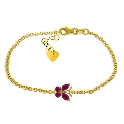 Genuine 0.60 ctw Ruby Bracelet Jewelry 14KT Yellow Gold - REF-44W7Y