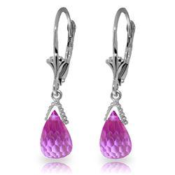Genuine 4.5 ctw Pink Topaz Earrings Jewelry 14KT White Gold - REF-24A3K