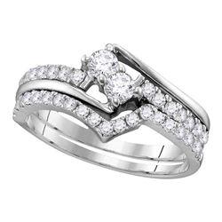 1.51 CTW Diamond 2-stone Bridal Wedding Engagement Ring 14KT White Gold - REF-149K9W