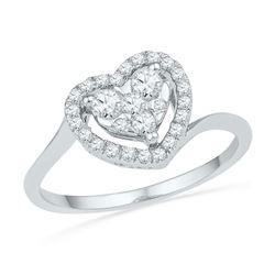 0.33 CTW Diamond Heart Cluster Ring 10KT White Gold - REF-30W2K