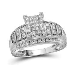 1.01 CTW Princess Diamond Cluster Bridal Engagement Ring 14KT White Gold - REF-75K2W
