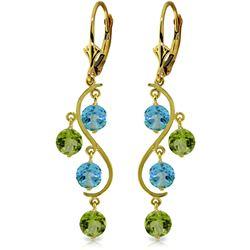 Genuine 4.94 ctw Blue Topaz & Peridot Earrings Jewelry 14KT Yellow Gold - REF-53F8Z