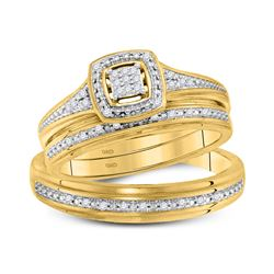 0.10 CTW His & Hers Diamond Cluster Matching Bridal Ring 10KT Yellow Gold - REF-40X4Y