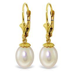 Genuine 8 ctw Pearl Earrings Jewelry 14KT Yellow Gold - REF-20M7T