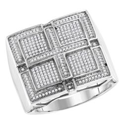0.57 CTW Mens Pave-set Diamond Square Cross Cluster Ring 10KT White Gold - REF-82X4Y
