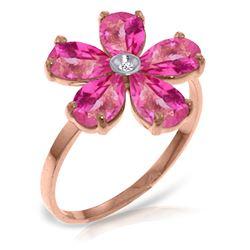 Genuine 2.22 ctw Pink Topaz & Diamond Ring Jewelry 14KT Rose Gold - REF-36Z3N