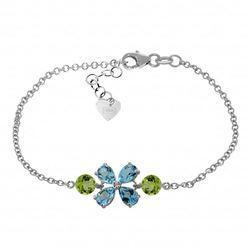 Genuine 3.15 ctw Blue Topaz & Peridot Bracelet Jewelry 14KT White Gold - REF-56N4R