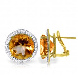 Genuine 12.4 ctw Citrine & Diamond Earrings Jewelry 14KT Yellow Gold - REF-120R5P