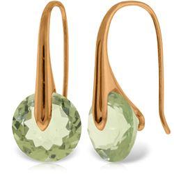 Genuine 11.50 ctw Green Amethyst Earrings Jewelry 14KT Rose Gold - REF-74H6X