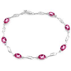 Genuine 3.39 ctw Pink Topaz & Diamond Bracelet Jewelry 14KT White Gold - REF-82N5R