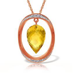 Genuine 9.6 ctw Citrine & Diamond Necklace Jewelry 14KT Rose Gold - REF-109M6T