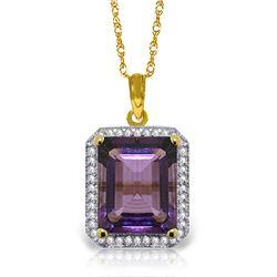 Genuine 5.8 ctw Amethyst & Diamond Necklace Jewelry 14KT Yellow Gold - REF-71K3V
