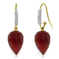Genuine 26.28 ctw Ruby & Diamond Earrings Jewelry 14KT Yellow Gold - REF-58R2P