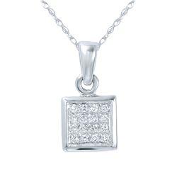 0.08 CTW Diamond Necklace 14K White Gold - REF-12M7F