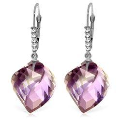 Genuine 21.65 ctw Amethyst & Diamond Earrings Jewelry 14KT White Gold - REF-57T6A