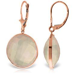 Genuine 34 ctw Rose Quartz Earrings Jewelry 14KT Rose Gold - REF-58V2W