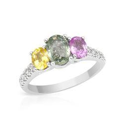 2.16 CTW Multi-Color Sapphire & Diamond Ring 14K White Gold - REF-48K6W