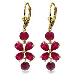 Genuine 5.32 ctw Ruby Earrings Jewelry 14KT Yellow Gold - REF-63W5Y