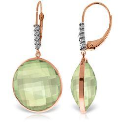 Genuine 36.15 ctw Green Amethyst & Diamond Earrings Jewelry 14KT Rose Gold - REF-95Y5F
