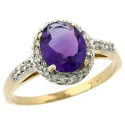 Natural 1.3 ctw Amethyst & Diamond Engagement Ring 10K Yellow Gold - REF-25Z9Y
