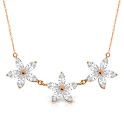 Genuine 4.75 ctw White Topaz Necklace Jewelry 14KT Rose Gold - REF-61T2A