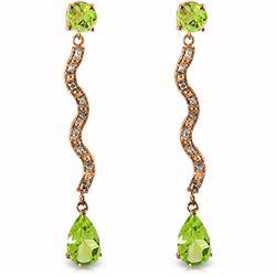 Genuine 4.35 ctw Peridot & Diamond Earrings Jewelry 14KT Rose Gold - REF-62N3R