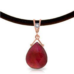 Genuine 8.01 ctw Ruby & Diamond Necklace Jewelry 14KT Rose Gold - REF-59Y9F