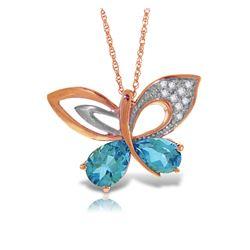 Genuine 4.18 ctw Blue Topaz & Diamond Necklace Jewelry 14KT Rose Gold - REF-111V3W