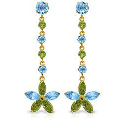Genuine 4.8 ctw Blue Topaz & Peridot Earrings Jewelry 14KT Yellow Gold - REF-56N8R