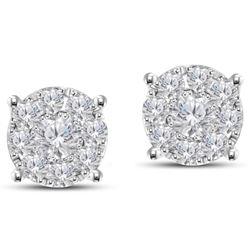 0.75 CTW Diamond Earrings 14K White Gold - REF-65X5R