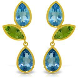 Genuine 13.6 ctw Blue Topaz & Peridot Earrings Jewelry 14KT Yellow Gold - REF-62K4V