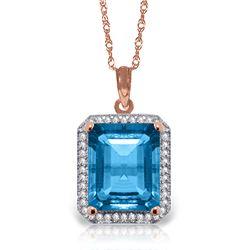 Genuine 7.8 ctw Blue Topaz & Diamond Necklace Jewelry 14KT Rose Gold - REF-72V8W
